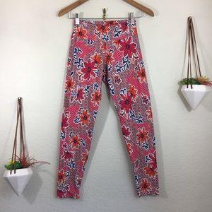Liquido floral geometric pink orange leggings